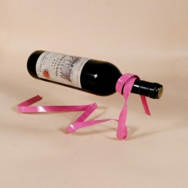 Creative Magic Ribbon Floating Wine Rack Wine Bottle Holder Stand Pink
