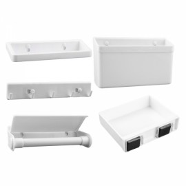 5pcs/Set Refrigerator Combination Shelves Multifunction Storage Holder Plastic Rack White