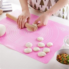 50*40cm Silicone Mat Baking Cake Rolling Kneading Mat Baking Mat with Scale Cooking Plate Kitchen Tools Pink