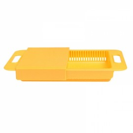 Multifunction Kitchen Drain Basket Chopping Board Non-slip Frosted Anti-bacteria Kitchen Cutting Board Yellow