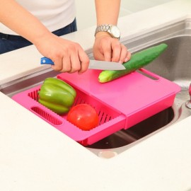 Multifunction Kitchen Drain Basket Chopping Board Non-slip Frosted Anti-bacteria Kitchen Cutting Board Rose Red