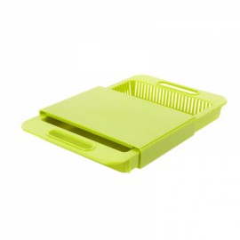 Multifunction Kitchen Drain Basket Chopping Board Non-slip Frosted Anti-bacteria Kitchen Cutting Board Green