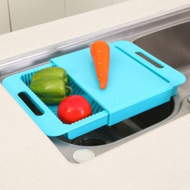 Multifunction Kitchen Drain Basket Chopping Board Non-slip Frosted Anti-bacteria Kitchen Cutting Board Blue
