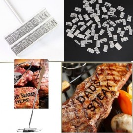 Changeable 55-Letter Stainless Steel Barbecue ID Branding Iron Tool Silver