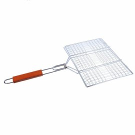 Rectangular Stainless Steel BBQ Barbecue   with Wooden Handle Size L