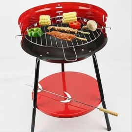 Outdoor BBQ Barbecue Grill Stand  Party Cooking Stove 36cm Black & Red