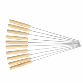 10pcs BBQ Skewer Wooden Handle Stainless Steel Roast Needle Stick