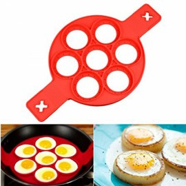 Silicone Perfect Pancake Mold Non-stick Pancake Cake Omelette Mold Maker Egg Ring Red