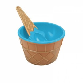 Cute Plastic Ice Cream Bowl with Spoon Dessert Cup Container Blue