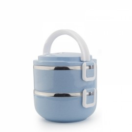 Portable 2 Layers 1400mL Lunch Box Stainless Steel Thermal Bento Box Food Container Light Green
