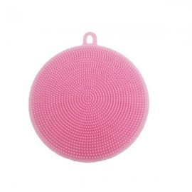 Multi-purpose Silicone Dish Washing Cleaning Brush Scrubber Heat-resistant Pad Coaster - Pink