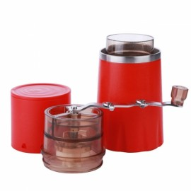 All in One Portable Manual Coffee Maker with Ceramic Grinder for Car Travel Camping - Red