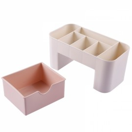 Multifunction Plastic Storage Box Jewelry Cosmetics Container Makeup Tool Office Desktop Organizer Case Storage Box Pink