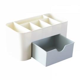Multifunction Plastic Storage Box Jewelry Cosmetics Container Makeup Tool Office Desktop Organizer Case Storage Box Blue