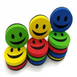 1Pc 9CM Smile Face Magnetic White Board Dry Felt  Board Eraser Random
