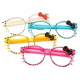 4 Pcs / Pack Promotional Pen Fashion Frame Cute Kittens Creative Cartoon Ballpoint Pen Glasses Random Color