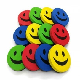 10Pc 9CM Smile Face Magnetic White Board Dry Felt Eraser Chalk Board Eraser Random