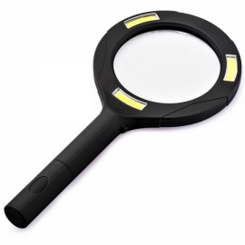 3 LED Light 3X Handheld Magnifier Reading Magnifying Glass Lens Black & Yellow