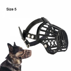 Leather Basket Muzzle Cage Adjustable Pet Dog Muzzle Black Size-5