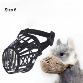 Nylon Basket Muzzle Cage Adjustable Pet Dog Muzzle Black Size-6