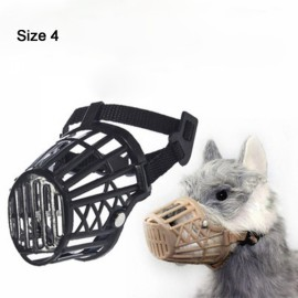 Nylon Basket Muzzle Cage Adjustable Pet Dog Muzzle Black Size-4