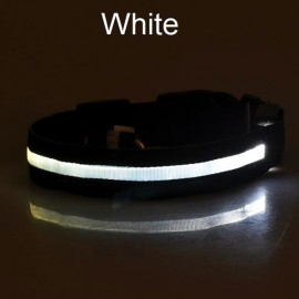 Nylon LED Pet Dog Collar Night Safety LED Flashing Glow Dog Cat Collar with CR2032 Battery White L