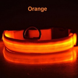 Nylon LED Pet Dog Collar Night Safety LED Flashing Glow Dog Cat Collar with CR2032 Battery Orange L