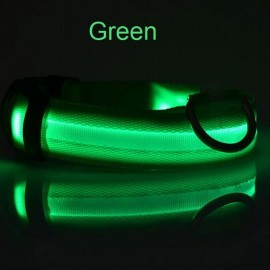 Nylon LED Pet Dog Collar Night Safety LED Flashing Glow Dog Cat Collar with CR2032 Battery Green XL