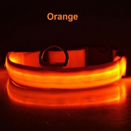 Nylon LED Pet Dog Collar Night Safety LED Flashing Glow Dog Cat Collar with CR2032 Battery Orange XL