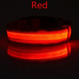 Nylon LED Pet Dog Collar Night Safety LED Flashing Glow Dog Cat Collar with CR2032 Battery Red XL