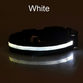 Nylon LED Pet Dog Collar Night Safety LED Flashing Glow Dog Cat Collar with CR2032 Battery White XL