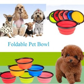 Collapsible Pet Travel Bowl Foldable Dog Cat Compact Silicone Feeding Dish Bowl Black Edge & Red