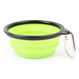 Collapsible Pet Travel Bowl Foldable Dog Cat Compact Silicone Feeding Dish Bowl Black Edge & Green