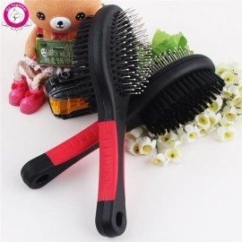 Multifunctional Portable Double Sides Pet Dog Cat Comb Long Hair Brush Massage Bathing Brush Pet Grooming Tool Black & Red L