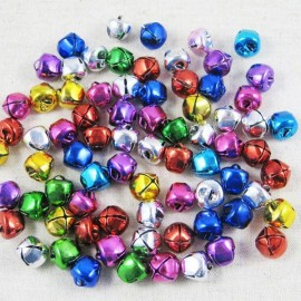 100pcs 10MM Loose Beads Slot-open Small Jingle Bells Christmas Decoration Gift Mix Colors