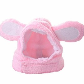 Pink Bunny Rabbit Shape Hat for Cats Dogs Pet Cosplay Costume with Stuffed Ears - Size L
