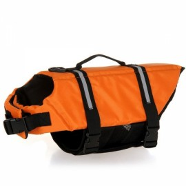 Dog Life Jacket Vest Saver Safety Swimsuit Preserver with Reflective Stripes - Orange & Size S