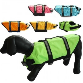 Dog Life Jacket Vest Saver Safety Swimsuit Preserver with Reflective Stripes - Green & Size L