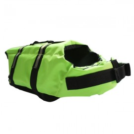 Dog Life Jacket Vest Saver Safety Swimsuit Preserver with Reflective Stripes - Green & Size S