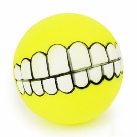 Funny Pet Dog Ball Teeth Silicon Toy Chew Squeaker Squeaky Sound Dogs Play Gnu - Yellow