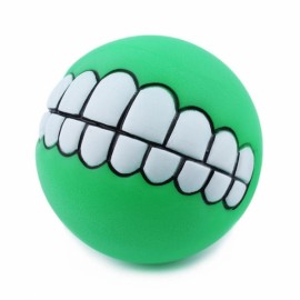 Funny Pet Dog Ball Teeth Silicon Toy Chew Squeaker Squeaky Sound Dogs Play Gnu - Green