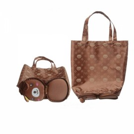 Foldable Reusable Cute Cartoon Style Bear Pattern Zipper Closure Shopping Travel Bag Pouch Tote Handbag Brown