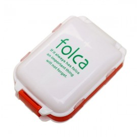 Portable Foldable Medicine Cosmetic Earring Makeup Dispenser Container Storage Pill Vitamin Box Case White & Orange