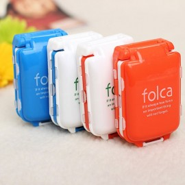 Portable Foldable Medicine Cosmetic Earring Makeup Dispenser Container Storage Pill Vitamin Box Case White & Blue