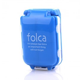Portable Foldable Medicine Cosmetic Earring Makeup Dispenser Container Storage Pill Vitamin Box Case Blue