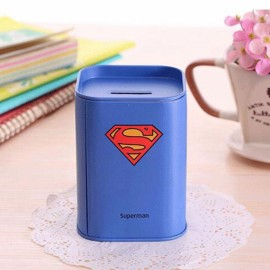 Mini Tinplate Square Superman Coin Piggy Bank Money Box Storage Box Blue