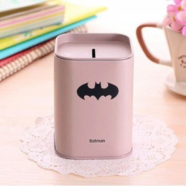 Mini Tinplate Square Batman Coin Piggy Bank Money Box Storage Box Light Gray
