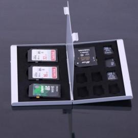12 Slots Aluminum 8 x TF / 4 x SD Memory Card Storage Box Case Silver