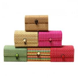 Mini Handmade Bamboo Wooden Jewelry Box Organizer Storage Case Random Delivery