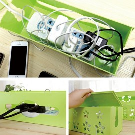 Hollow Flower Style Square Electrical Outlet Power Strip Wire Cord Cable Storage Box Random Color L